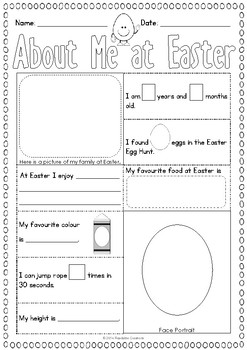 About Me at Easter - Activity Sheet {BrE Version}