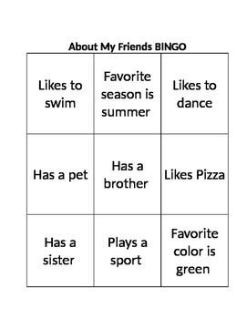 About My Friends BINGO