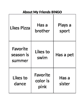 About My Friends BINGO