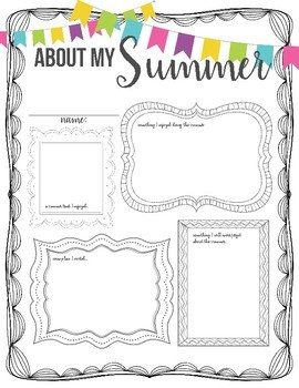 About My Summer PDF Printable, Back to School Activity