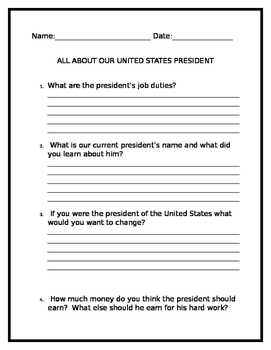 About Our President Written Response Test