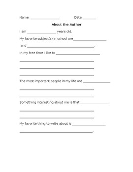 About The Author Brainstorming Sheet