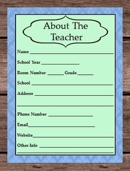 About The Teacher - Planner Binder Cover Page - Phone Number - Email - Room Info