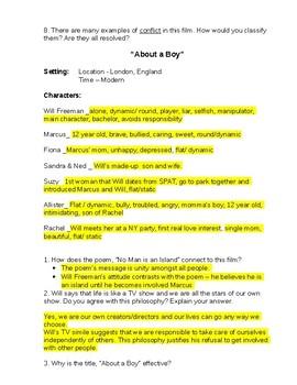 About a Boy Film Study with Answer Key