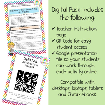 About me Flipbook - Back to School  { Digital } Grade 2 - 3