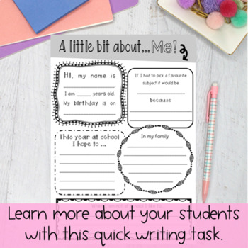 About me Writing Task - { Paper & Digital } Freebie