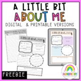 All About Me Writing Task - First Day of School { Paper & Digital } FREEBIE