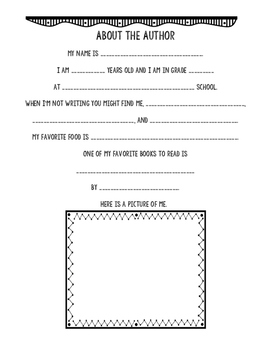 about the author fill in the blank printable by a rookie with a