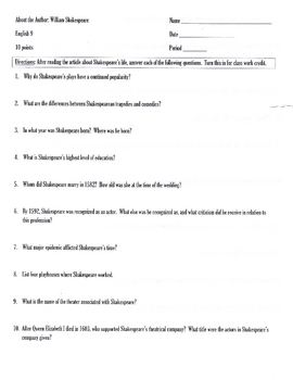 About the Author: William Shakespeare's  Study Guide