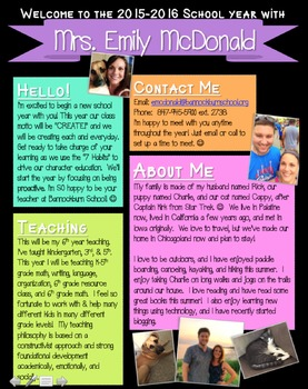 meet the teacher newsletter template chalkboard brights
