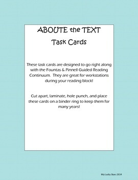 About the Text Task Cards