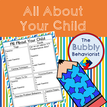 About You Child Worksheet for Classroom Management