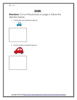 Above, Under, Beside, Between Packet: Cut and Paste Worksheet