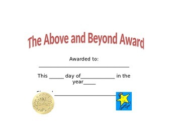 Above and Beyond Award/Certificate