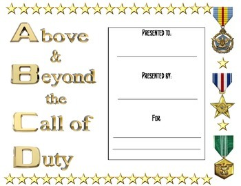 Above and Beyond the Call of Duty certificate