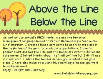 Above the Line PBIS sort