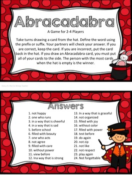 Abracadabra Affixes: Interactive Journal, PowerPoint, Printables and Game