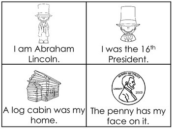 Abraham Lincoln Early Emergent Reader Reading Activity Cards.
