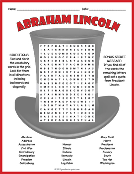 Abraham Lincoln Word Search Puzzle
