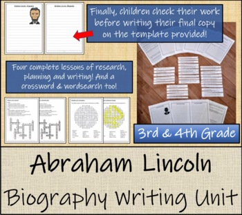 Abraham Lincoln - 3rd & 4th Grade Biography Writing Activity