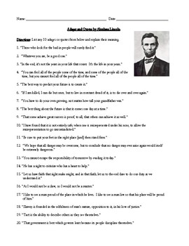 Abraham Lincoln Adages and Quotes