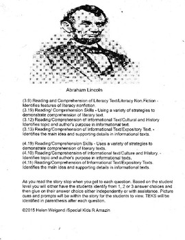 Abraham Lincoln Adaptive Informational Text and Lesson Plan