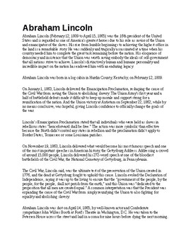 Abraham Lincoln Article and Assignment