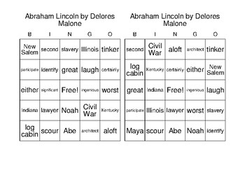Abraham Lincoln - BINGO
