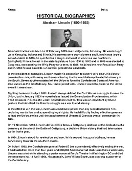 Abraham Lincoln  Biography Article and (3) Assignments