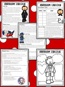 Abraham  Lincoln Biography Leveled Texts Reading Comprehension Worksheet