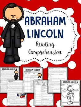 Abraham  Lincoln Biography Reading Comprehension Worksheet, Civil War, Slavery