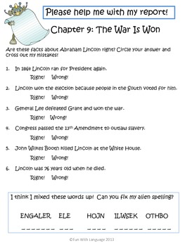 "Abraham Lincoln Biography by Janet Pascal ""Who Was"" Comprehension Worksheets"