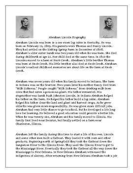 Abraham Lincoln Biography and Comprehension Questions