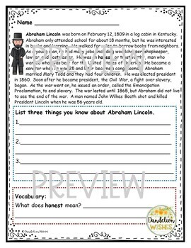 Abraham Lincoln Biography, Comprehension Work, and Writing Paper