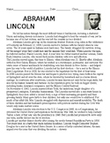 Abraham Lincoln Biography with Questions