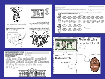 Abraham Lincoln CCSS K ELA/Math/Science/SS Mini Packet SPED