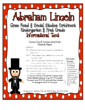 Abraham Lincoln Close Read, with Common Core & TN Social Studies Standards