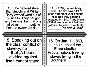 Abraham Lincoln Cloze Facts Task Cards (28 Cards)