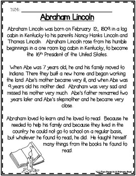 Abraham Lincoln Comprehension Activities