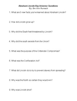 Abraham Lincoln Comprehension Questions