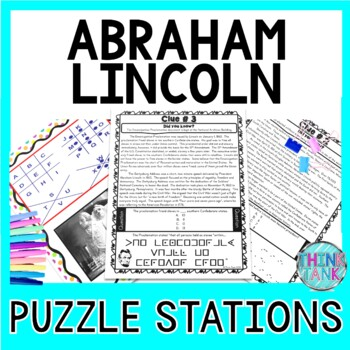 Abraham Lincoln PUZZLE STATIONS:  Civil War, Gettysburg Address, President's Day