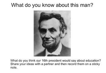 Abraham Lincoln Education Quote Close Read Smartboard and
