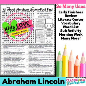 Abraham Lincoln: All About Abraham Lincoln Reading and Word Search Activity