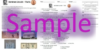 Abraham Lincoln Fact Sheet & Test