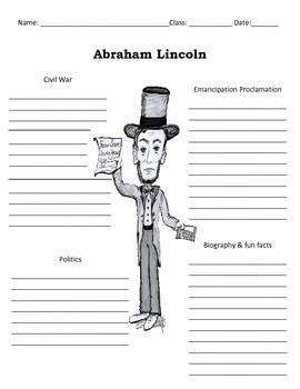 16th President - Abraham Lincoln Graphic Organizer