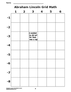 Abraham Lincoln Activity (Mystery Puzzle, Coordinate Graphing Picture)