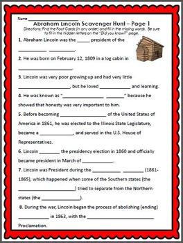 Abraham Lincoln Activitiy