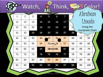Abraham Lincoln Hundreds Chart Fun - Watch, Think, Color Mystery Pictures