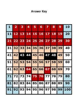 Christmas Santa Hundreds Chart Hidden Picture Set Math Place Value