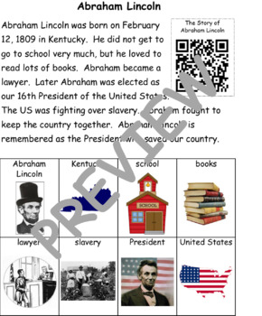 Abraham Lincoln: Information Text and Writing Activity